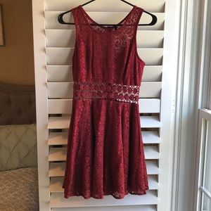 Lulus Maroon Dress with Floral cut out